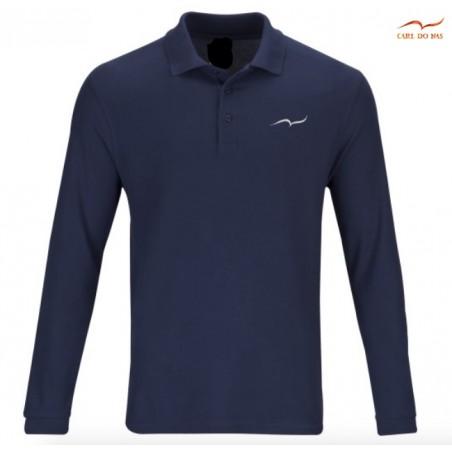 Polo bleu marine en coton piqué pour homme avec logo brodé de CARL DO NAS