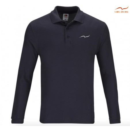 Dark Blue Polo man in cotton pique with embroidered logo by CARL DO NAS