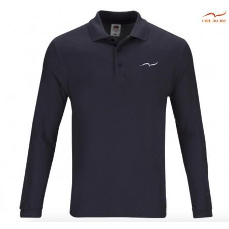 Polo bleu foncé en coton piqué pour homme avec logo brodé de CARL DO NAS
