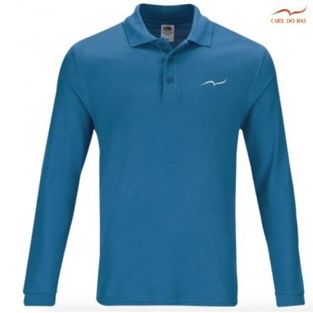 Polo bleu clair en coton piqué pour homme avec logo brodé de CARL DO NAS