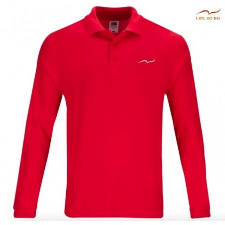 Polo rouge en coton piqué pour homme avec logo brodé de CARL DO NAS