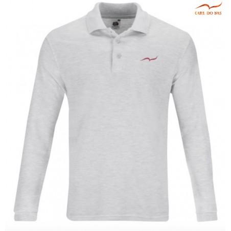 Polo gris en coton piqué pour homme avec logo brodé de CARL DO NAS