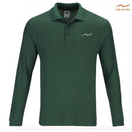 Green Polo man in cotton pique with embroidered logo by CARL DO NAS