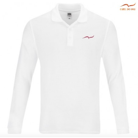 White Polo man in cotton pique with embroidered logo by CARL DO NAS