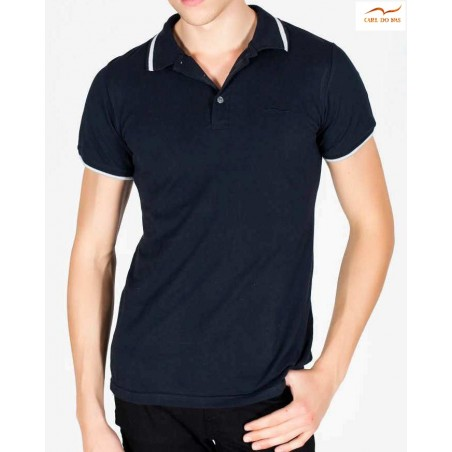 Dark blue Polo fit man in cotton pique with embroidered logo by CARL DO NAS