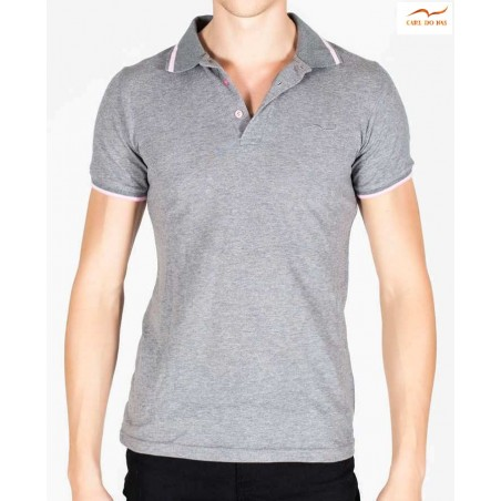 Grey Polo fit man in cotton pique with embroidered logo by CARL DO NAS