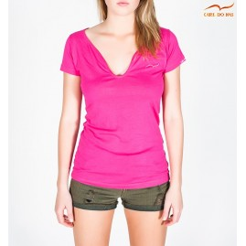 Women's pink V-neck t-shirt...