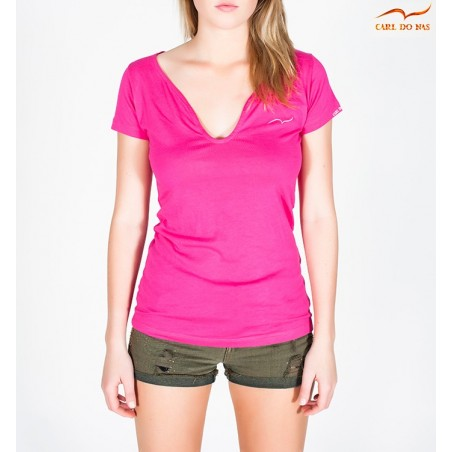 T-shirt rose col en vague femme
