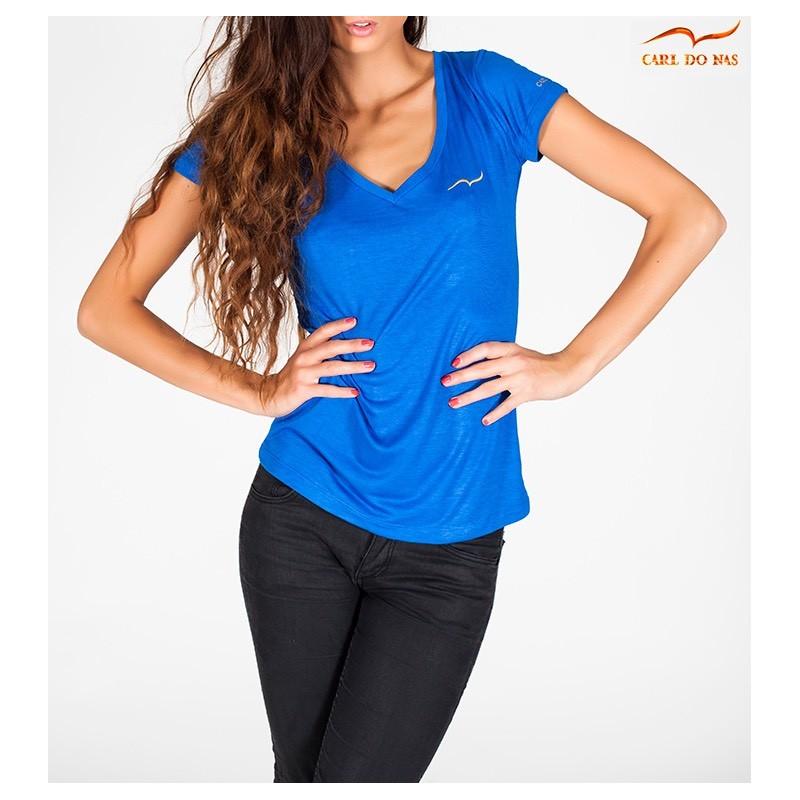 dbc48cc533d T-shirt bleu décolleté femme Taille XS Couleur bleu roi