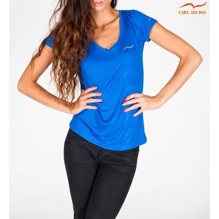 T-shirt azul com gola em V para mulher de CARL DO NAS