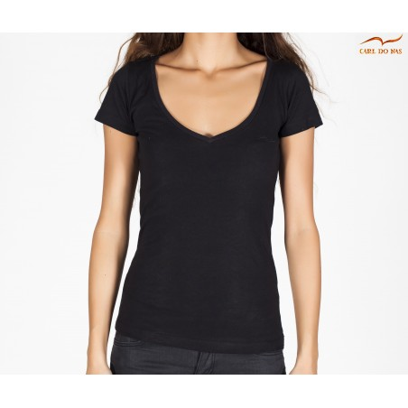 T-shirt noir décolleté femme