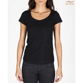 T-shirt noir col en bateau...