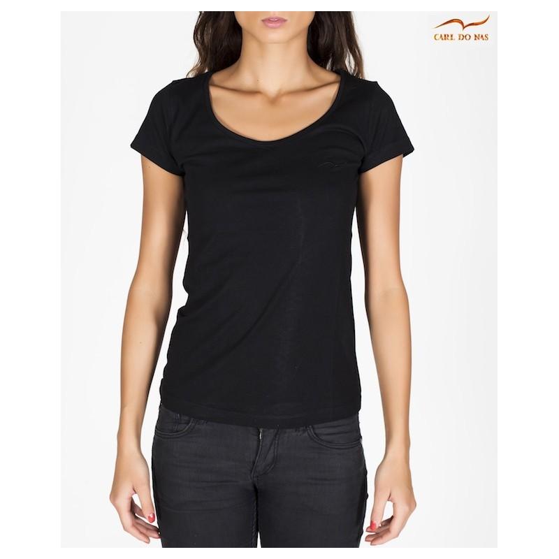 92f2e8f9748 Women s Black round neck t-shirt by CARL DO NAS Color Black Size XS