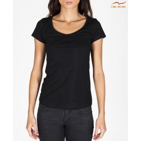 T-shirt noir col en bateau femme