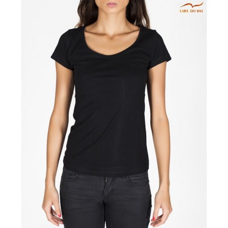 Women's Black round neck t-shirt by CARL DO NAS