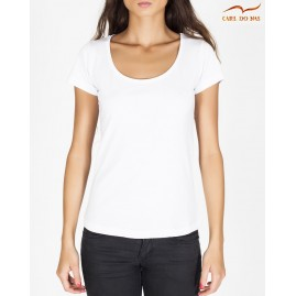 T-shirt blanc femme col en...