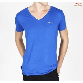 T-shirt bleu col en V avec...