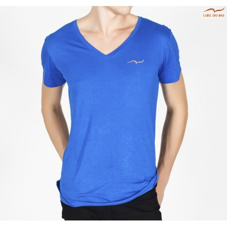 Men's blue T-shirt v-neck with embroidered logo by CARL DO NAS