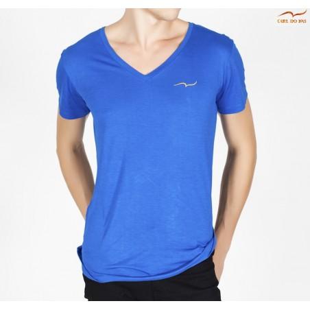 T-shirt bleu col en V avec logo brodé pour homme de CARL DO NAS