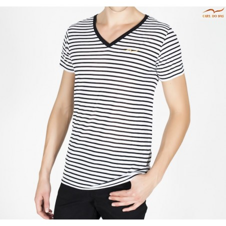 Men's black and white T-shirt v-neck with embroidered logo by CARL DO NAS