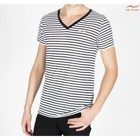 T-shirt blanc et noir à rayures col en V avec logo brodé pour homme de CARL  ...