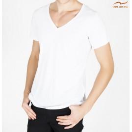 T-shirt branco com gola em...