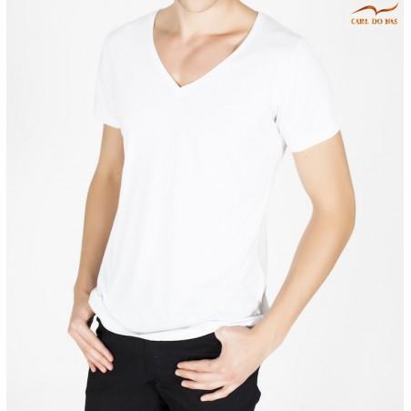 T-shirt blanc col en V avec logo brodé pour homme de CARL DO NAS