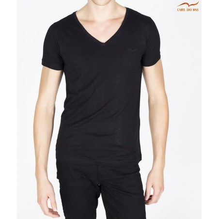 Men's black T-shirt v-neck with embroidered logo by CARL DO NAS