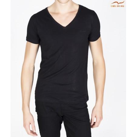 T-shirt noir col en V avec logo brodé homme de CARL DO NAS