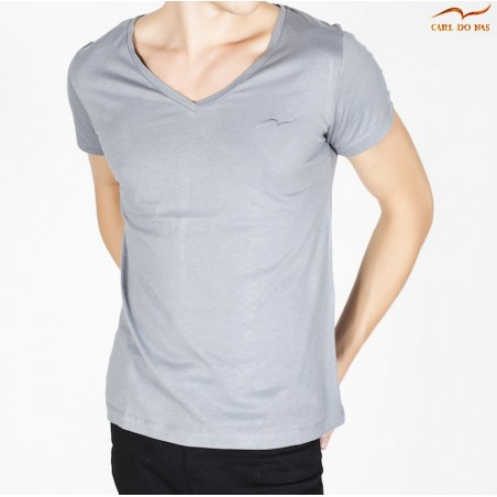 Men's grey T-shirt v-neck with embroidered logo by CARL DO NAS