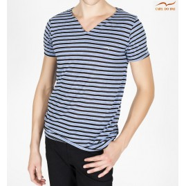 T-shirt col en vague bleu...