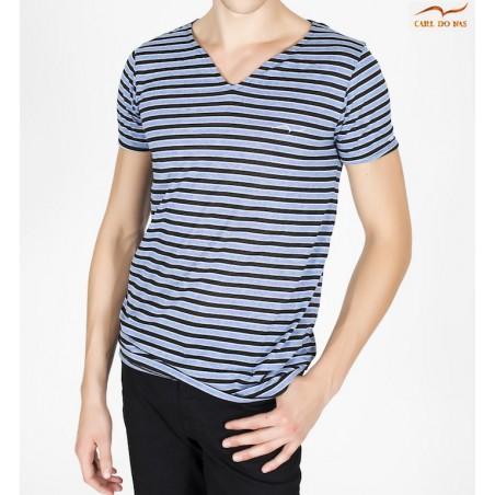 T-shirt col en vague bleu et noir avec logo brodé pour homme de CARL DO NAS