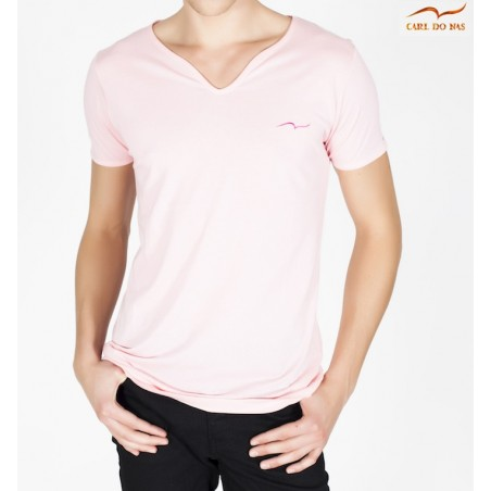 Men's pink T-shirt wave neck with gold embroidered logo for men by CARL DO NAS