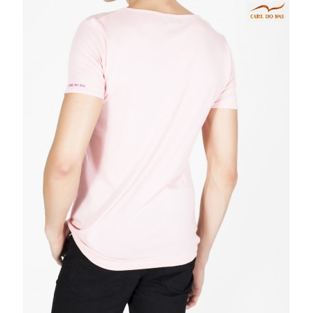 380e5797 T-shirt rose col en vague avec logo rose brodé pour homme de CARL DO ...