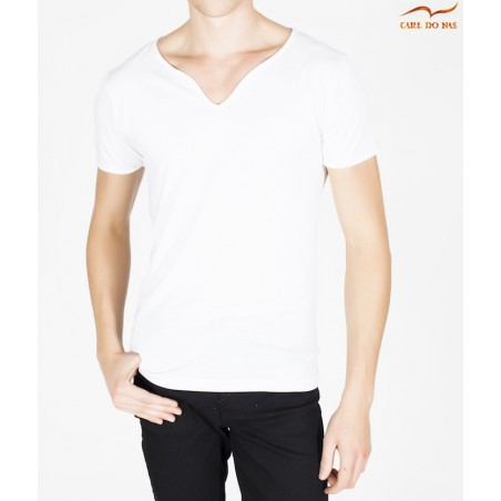 Men's white T-shirt wave neck with white embroidered logo by CARL DO NAS
