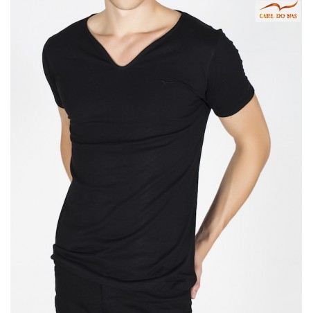 Men's black T-shirt wave-neck with black embroidered logo by CARL DO NAS