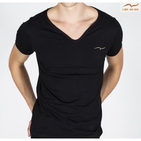 T-shirt noir col en vague avec logo or brodé pour homme de CARL DO NAS