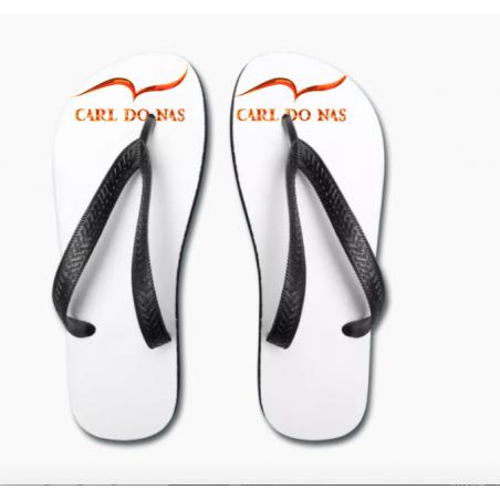 Sandalias brancas unisex com tiras pretas de CARL DO NAS