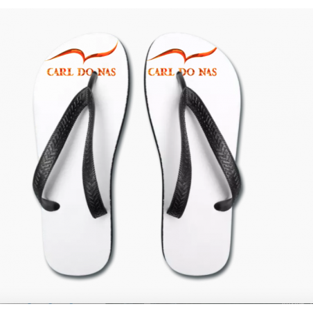 Unisex white flip flops with black thongs by CARL DO NAS