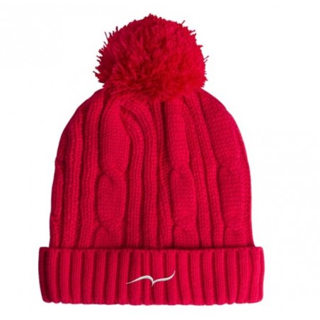 Red Bobble Beanie Hat with embroidered CARL DO NAS logo
