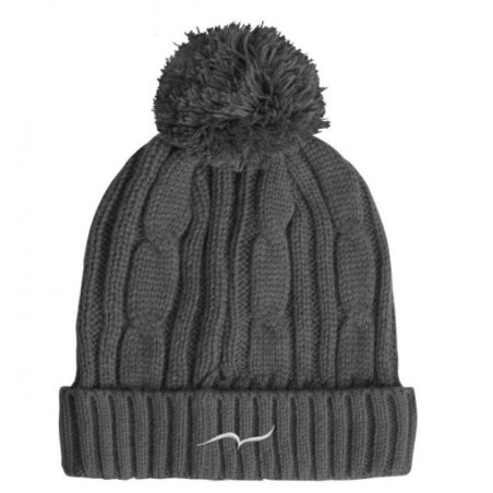 Grey Bobble Beanie Hat with embroidered CARL DO NAS logo