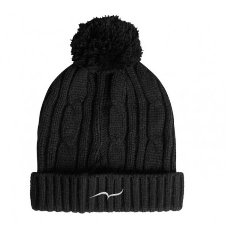 Black Bobble Beanie Hat with embroidered CARL DO NAS logo french fashion designer