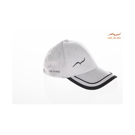 Gray golf cap with black stripes by CARL DO NAS