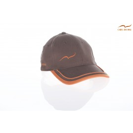 Brown golf cap with orange...